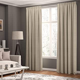 Curtains Faux Linen, Thermal Insulated, 3 Pass 100% Blackout Pencil Pleat Curtains (Cream, 66 x 54 inch 168 x 137 cm)
