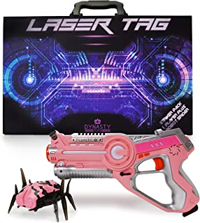 DYNASTY TOYS Girls Toys Pink Laser Tag Blaster and Flipping Robot Bug / Spider Target - Works with Jukibot