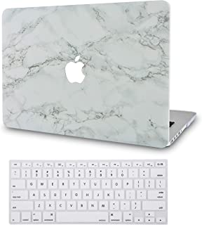 LuvCase 2 in 1 Bundle Rubberized Hard Shell Case with Keyboard Cover Compatible MacBook Air 13 Inch 2019/2018 New Version A1932 Retina (Touch ID) (White Marble with Grey Veins)