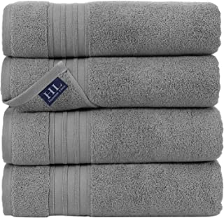 Hammam Linen 100% Cotton 27×54 4 Piece Set Bath Towels Cool Grey Soft, Fluffy, and..