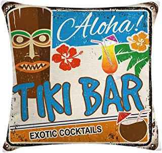 Ambesonne Tiki Bar Throw Pillow Cushion Cover, Rusty Vintage Sign Aloha Exotic Cocktails and Coconut Drink Antique Nostalgic, Decorative Square Accent Pillow Case, 16