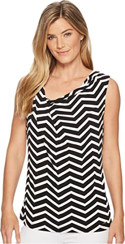 Sleeveless Cowl Neck Printed Blouse