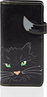 Shagwear - Monederos para Mujeres jóvenes diseños: (Cara de Gato Ojos verdesnegro/Cat Eyes Black)