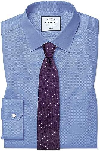 Chemise En Royal Panama Bleue Super Slim Fit Sans Repassage   Bleu (Poignet Simple)   16   34
