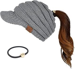 C.C Messy Bun Ponytail Visor Brim Beanie Hat Bundle Hair Tie (MB-131)