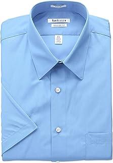 Van Heusen Men's Short Sleeve Poplin Solid Dress Shirt