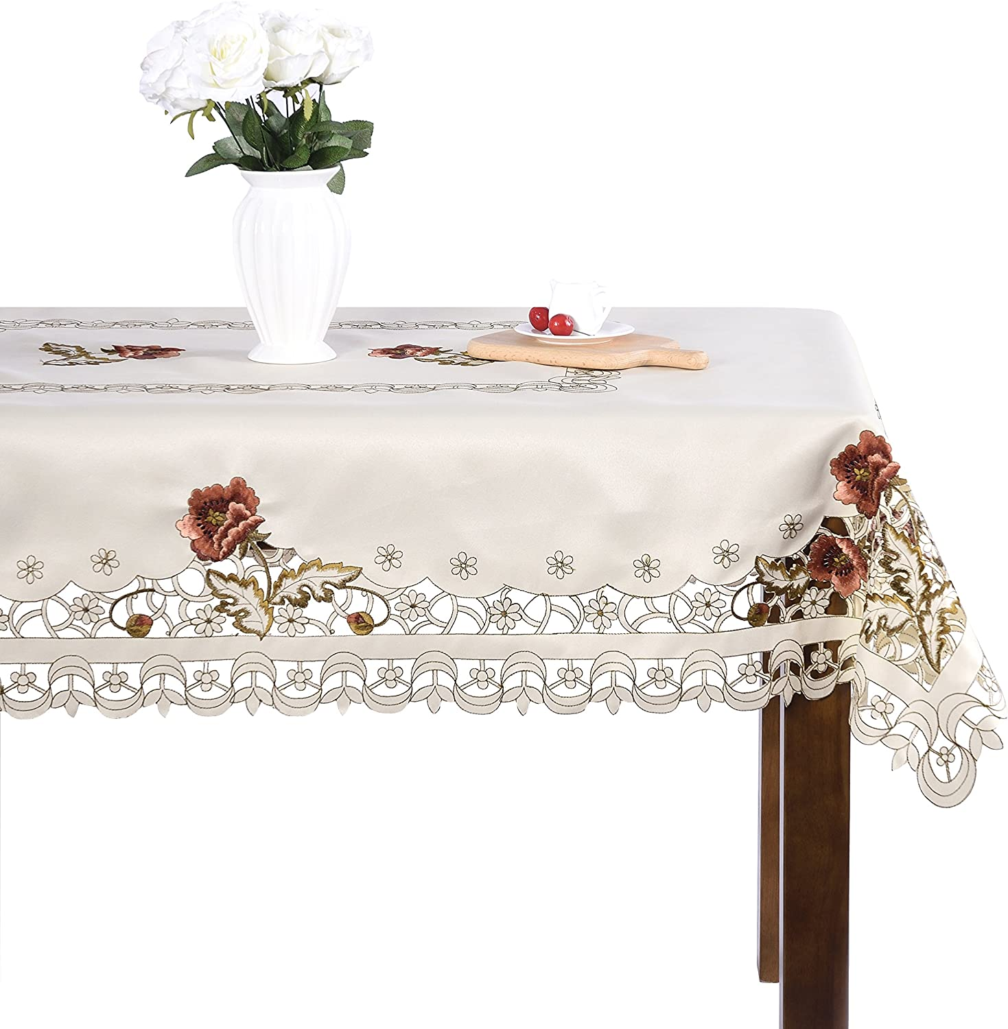 Luxury Cutwork Handmade Embroidery Floral Jacquard Table Cloths Cover Rectangular 68 x 124 inch Approx