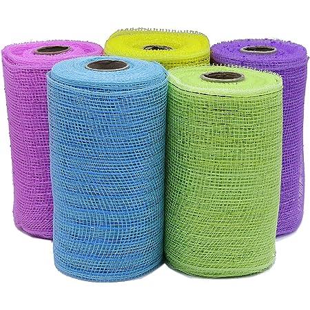 Light Blue Metallic Thread 6 Deco Mesh Ribbons