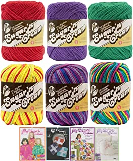 Variety Assortment Lily Sugar'n Cream Yarn 100 Percent Cotton Solids and Ombres (6-Pack) Medium Number 4 Worsted Bundle with 4 Patterns (Asst AB)