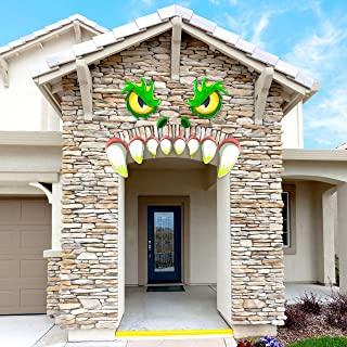 JOYIN Monster Face Halloween Archway Garage Door Decoration with Eyes, Fangs, Nostrils..