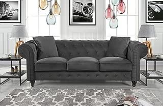 Divano Roma Furniture Classic Velvet Scroll Arm Tufted Button Chesterfield Sofa (Grey)