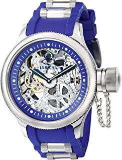 Men's 1089 Russian Diver Skeleton Watch With Blue Polyurethane Band