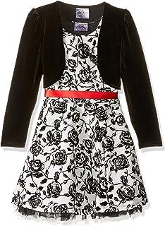 فستان بناتي قصير من قطعتين من Beautees مطبوع عليه زهور مكشكشة