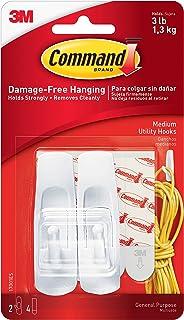 Command 17001ES Reusable Adhesive Hooks, Medium, Holds 3 lb, 2/PK, WE