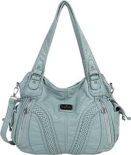 Angelkiss Women Top Handle Satchel Handbags Shoulder Bag Messenger Tote  Washed Leather Purses Bag … d81d70af26f6e