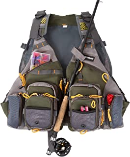 Wakeman Outdoors 18 Pocket Fishing Vest – Lightweight Adjustable Tackle Organizer Jacket with Rod Holder for Lake, Stream and Pond Fishing