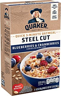 Quaker Steel Cut Quick 3-Minute Oatmeal, Blueberries & Cranberries, Individual Packets, 48 Count