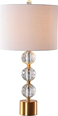 "JONATHAN Y JYL5017A Ashley 25.25"" Crystal Table Lamp, Clear/Brass Gold"