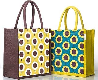 H&B Jute Bags for Lunch for Men | Jute Bags with Zip | Jute Tote Bag | Jute Tiffin Bags | Printed Jute Bag | Jute Carry Ba...