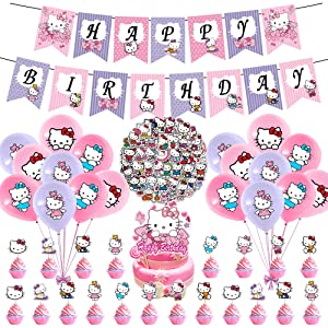 100 Pcs Kitty Party Decorations, Cute Kitten Theme Birthday Supplies for Kids Child Kitty Happy Birthday Banner Balloon Kawaii Cat Stickers Cake Toppers Pink Purple Decorations