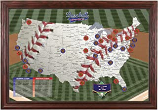 Push Pin Travel Maps Baseball Adventures with Solid Wood Cherry Frame and Pins - 27.5 inches x 39.5 inches