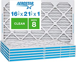 """Aerostar Clean House 16 1/2x21 1/2x1 MERV 8 Pleated Air Filter, Made in the USA, (Actual Size: 16 1/2""""x21 1/2""""x3/4""""), 6-Pack,White"""