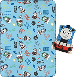"""Jay Franco Thomas & Friends Pillow and 40"""" Inch x 50"""" Inch Throw Blanket - Kids Super Soft 2 Piece Nogginz Set (Official M..."""