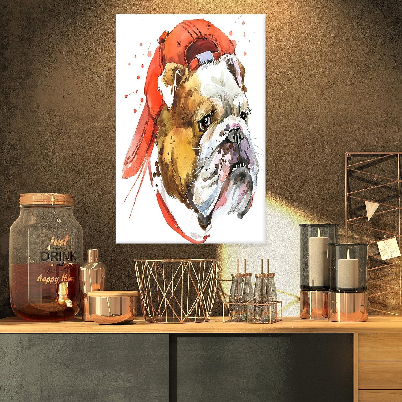 Designart Bulldog Illustration Artwork-16x32 卸直営 着後レビューで 送料無料 Art-Animal Canvas
