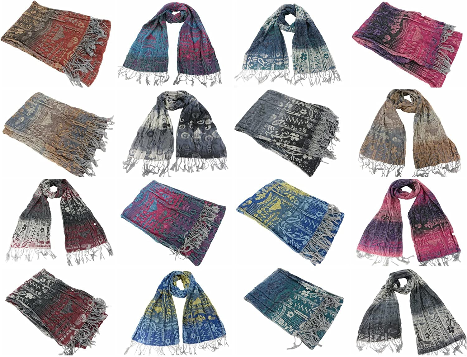 12 scarves wholesale paisley flower winter thick warm