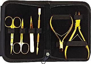 Kit Manicure Pedicure Titanio Dorado/Juego de 6pzs Cortauñas Profesionales Acero