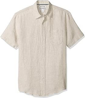 Men's Slim-Fit Short-Sleeve Linen Shirt