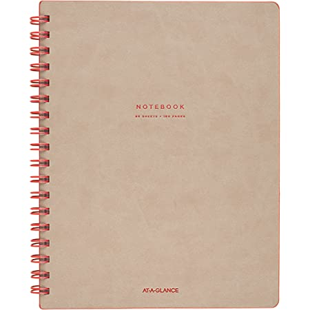 """AT-A-GLANCE Notebook, Twinwire, Ruled, 80 Sheets, 9-1/2 x 7-1/4"""", Collection, Tan/Red (YP14007)"""