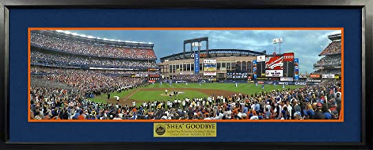 New York Mets Final Pitch At Shea Stadium Panoramic (Deluxe) Framed