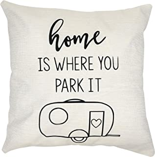 Arundeal 18 x 18 Inch RV Decor Cotton Linen Square Throw Pillow Cover with Quote Home is Where You Park It