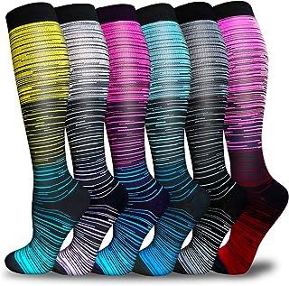 Compression Socks for Women Men 3/6 Pairs-Best Medical,Nursing,Travel,Running & Fitness-15-20mmHg