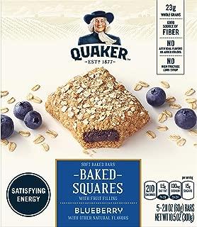 Quaker Breakfast Squares, Soft Baked Bars, Blueberry, 5 Bars (Pack of 8)
