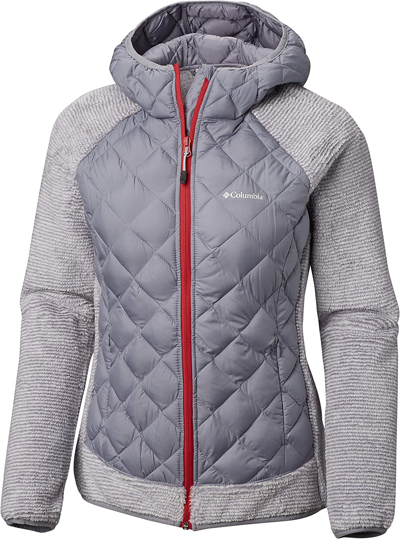 (L, blueee (Astral, White Stripe)) - Columbia Women's Techy Hybrid Fleece Jacket
