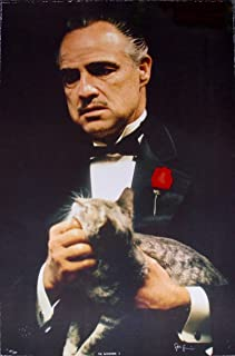 """Leos Coffers Art by Steve Schapiro The Godfather Cat Hand Signed Ltd Ed Lithograph Print. After The Original Painting or Drawing. Marlon Brando Measures 23"""" X 35"""""""