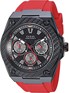 GUESS  Comfortable Iconic Red Silicone Watch with Black Day, Date + 24 Hour Military/Int'l Time. Color: Red (Model: U1049G6)