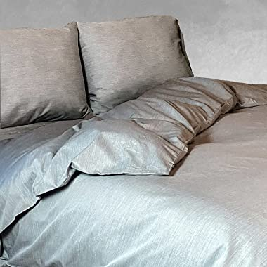 BedVoyage eco-mélange Rayon Bamboo Cotton King Duvet Comforter Cover with Button Closure - Hypoallergenic - Silver