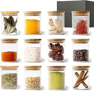 KIVY® Jeu de Pot en Verre Rangement Épices [12 x 150 ml] – Pot à Épices en Verre Empilables - Jeu Bocaux Épices Ronds - Co...