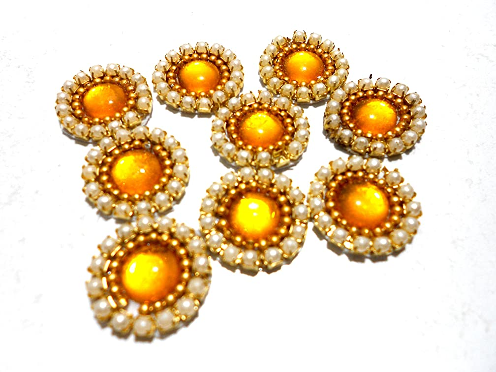 Goelx Pearl Patches Colorful Round Shape Handmade Appliques Embellishments for Decoration, Crafts Ideas, Jewelery Making, Easy to Use Pack of 50 - Yellow (15mm)