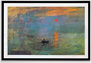 Monet Wall Art Collection Impression Sunrise Fine Giclee Prints Framed Wall Art Ready to Hang 28X48, Black, 385MONET