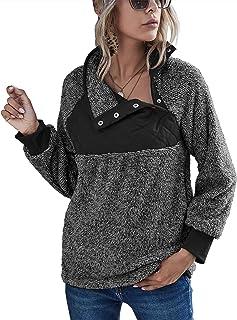 Romanstii Women Fleece Pullover Sweatshirt Oblique Button Neck Long Sleeve Warm Casual Coat Outwear(S-XXL)