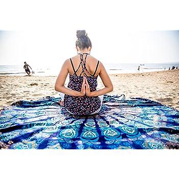 Folkulture Oceanic Aura Round Beach Blanket or Bohemian Mandala Tapestry, Circle Yoga Mat for Meditation, Hippie Tablecloth, Mandala Rug or Boho Home Decor - 72 Inches, Blue