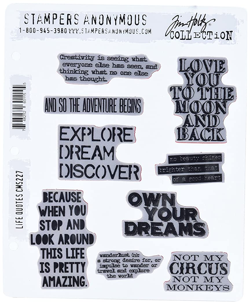 Stampers Anonymous Tim Holtz Cling Rubber Life Quotes Stamp Set, 7