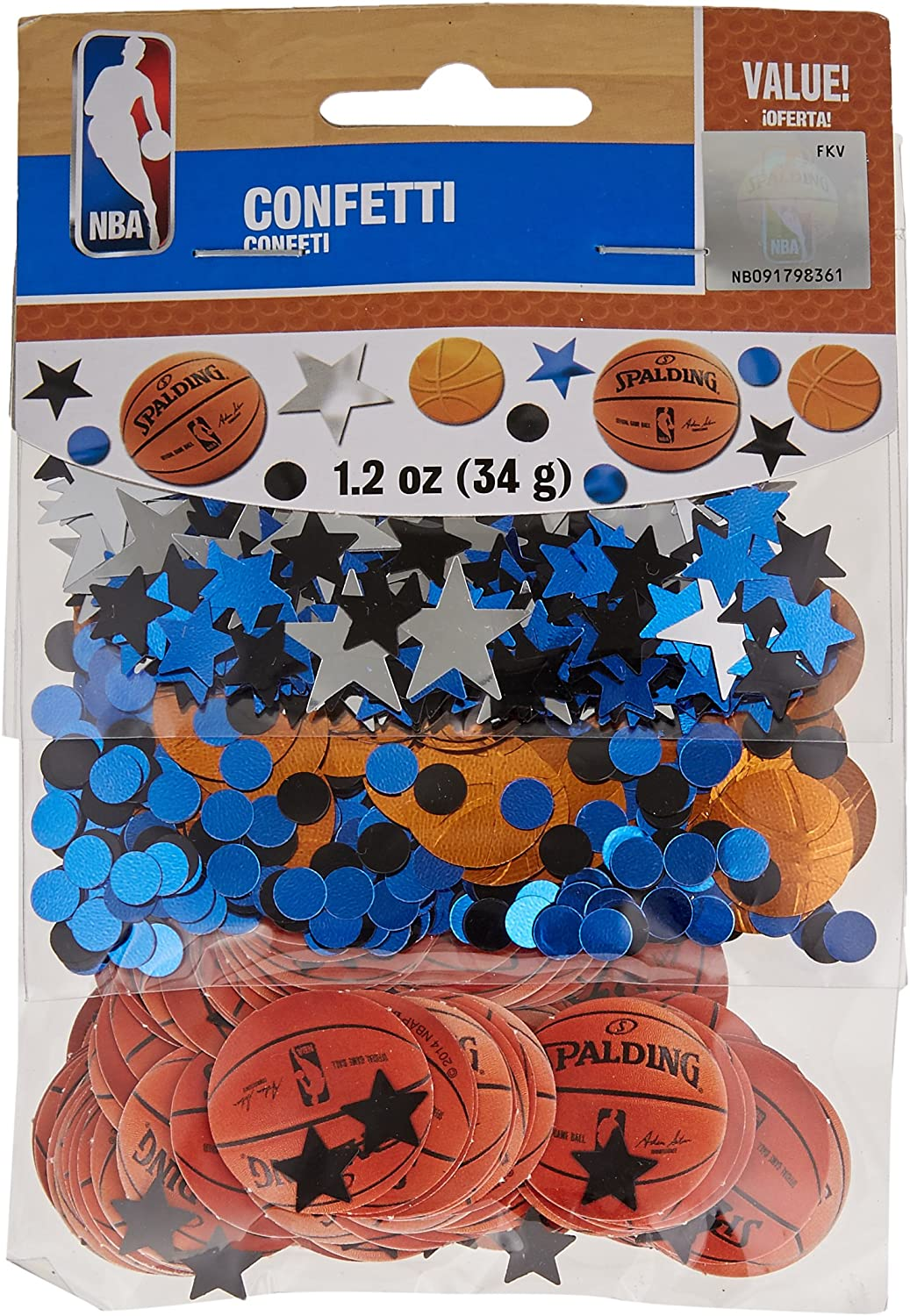 Amscan Spalding Basketball Collection Confetti Value Pack, Party Decoration, 12 Packs