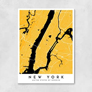 New York City Map - Yellow Cab version - 16 x 20 in