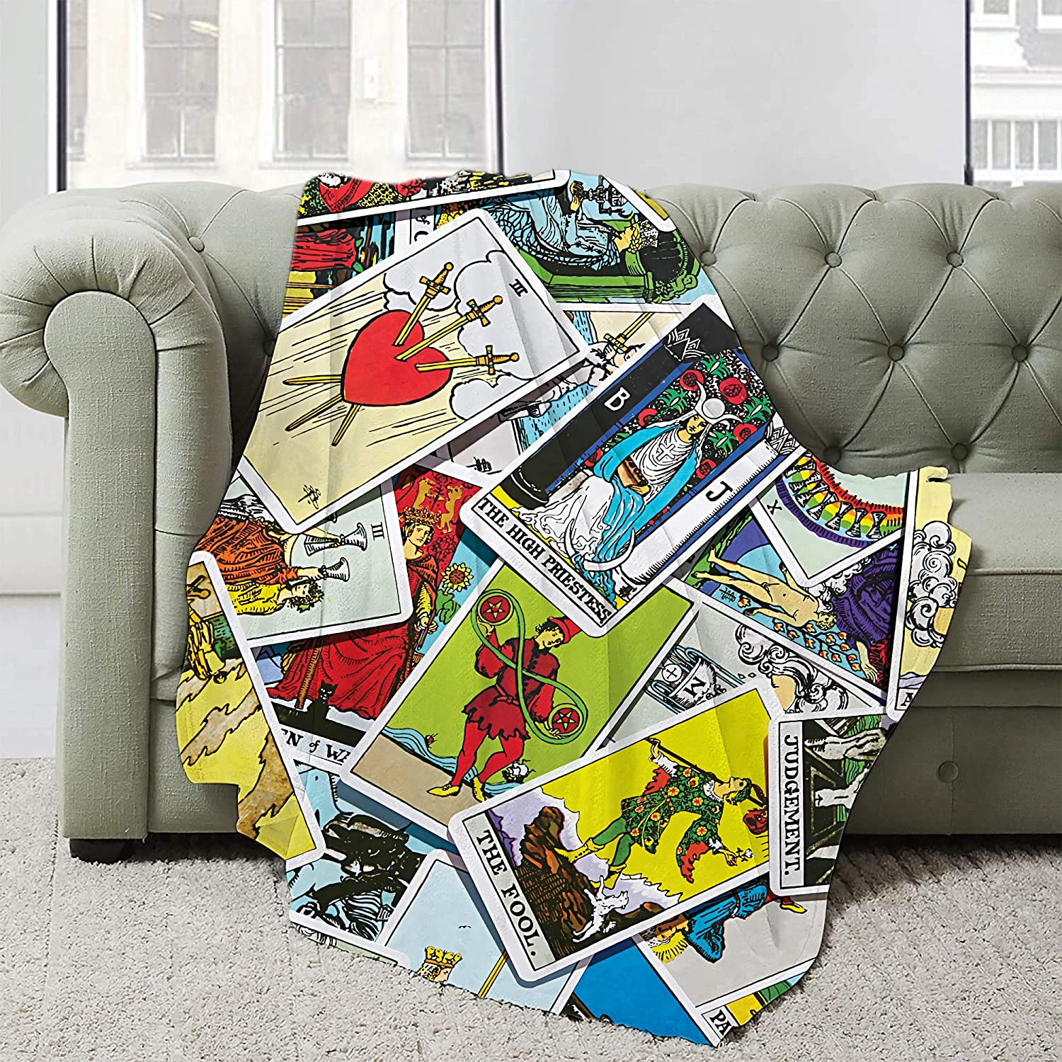 AIBILEEN Tarot Cards Judgement Low price The Occupies Flannel Blanket High material Fool