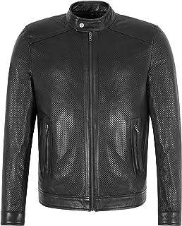 Men's PERFORATED Leather Jacket SUMMER Fashion Racer Black Lamb Leather Jacket
